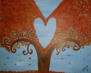 This is my painting from Paint Nite last night! A little heart in the middle for the baby we hope to know soon!